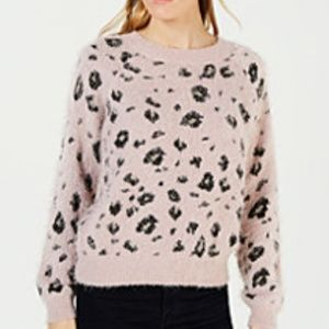 NWT Soft  Fuzzy Leopard Sweater Lilac Blush Black